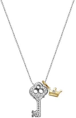 Alex Woo Little Luck 14K White Gold Diamond Accent Key & 14K Yellow Gold Diamond Detail Crown Pendant Necklace - 0.07 ctw