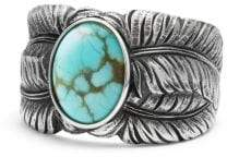 David Yurman Davidyurman Southwest Cigar Band Feather Ring With Turquoise