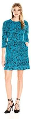 MSK Women's 3/4 Sleeve Exposed Zipper Printed Sweater Dress, S