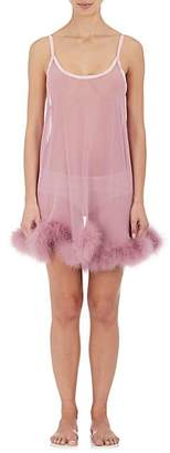 GILDA & PEARL Women's Diana Marabou-Detailed Silk Babydoll - Pink