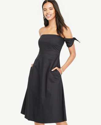 Off The Shoulder Tie Sleeve Flare Dress $149 thestylecure.com
