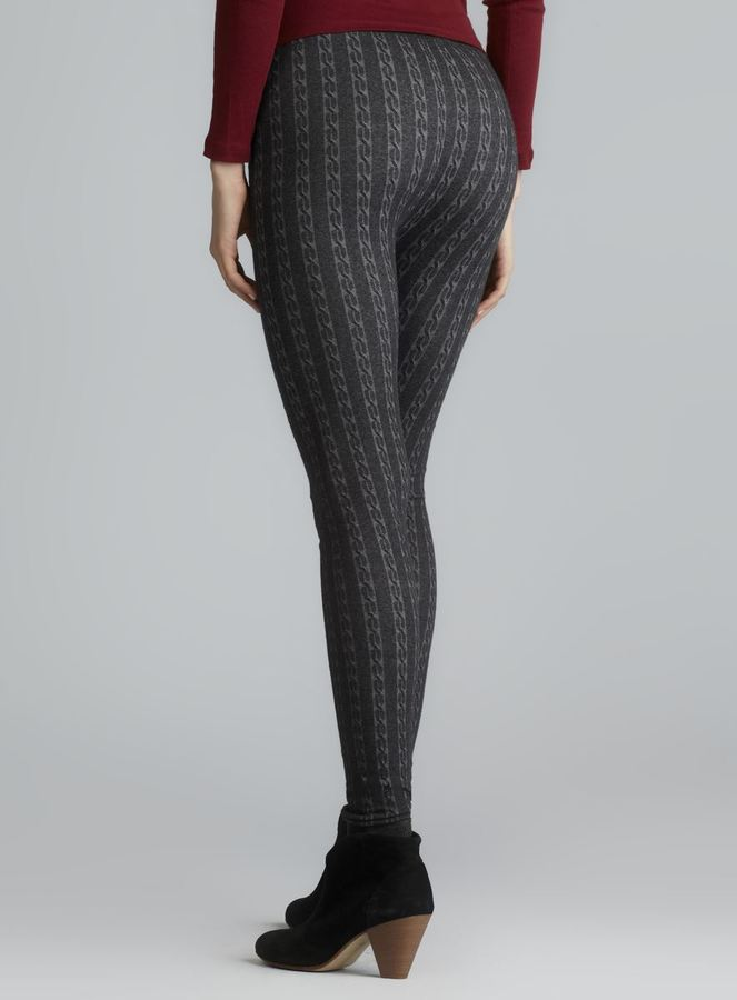 Pink Rose Heather Charcoal Cable Knit Leggings