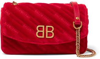 Balenciaga Bb Round Embroidered Quilted Velvet Shoulder Bag