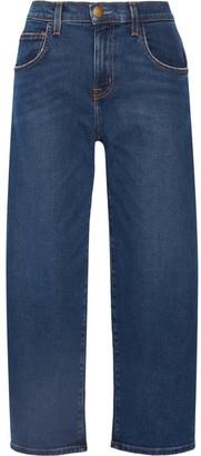 Current/Elliott - The Barrel Crop High-rise Wide-leg Jeans - Mid denim $250 thestylecure.com