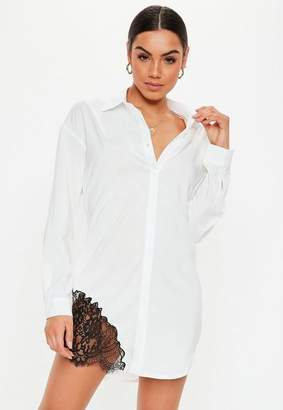 Missguided White Lace Trim Shirt Dress