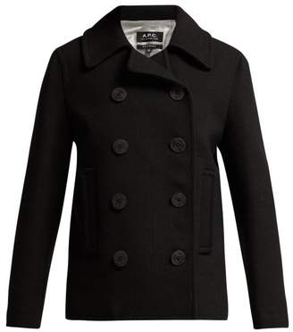 A.P.C. Double Breasted Wool Blend Peacoat - Womens - Black