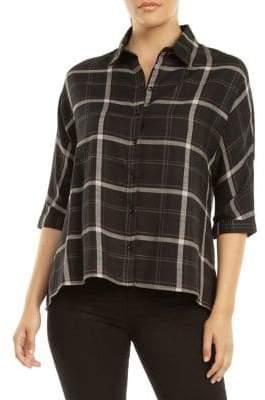 Dex Elbow Sleeve Plaid Button-Down Shirt