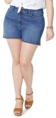 NYDJ Side Slit Fray Hem Denim Shorts