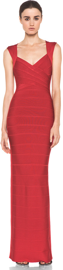 Herve Leger Gown in Red