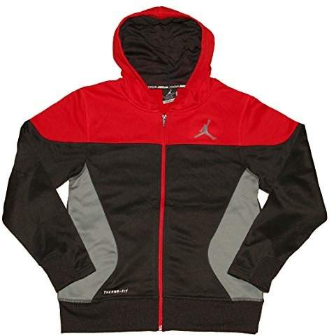 Nike Air Jordan Boys S Flight Full-Zip Hoodie Sweatshirt Black Red Grey Medium