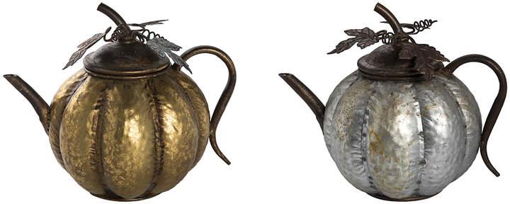 Silvertone & Goldtone Pumpkin Teapot Set