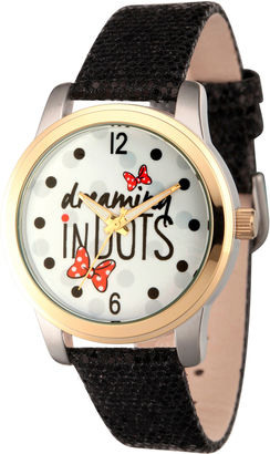 DISNEY Disney Womens Minnie Mouse Black Dreaming In Dots Strap Watch $49.99 thestylecure.com
