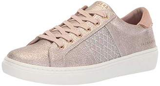 Skechers Women's Goldie-Glitzy Mitzy. Quilted Rhinestone qtr Trim Metallic lace up. Sneaker