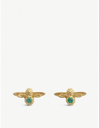 23a1767a4 Olivia Burton Celebration yellow-gold plated sterling silver and agate  earrings