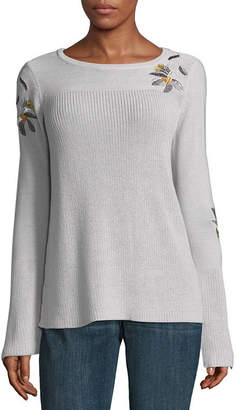 ST. JOHN'S BAY Long Sleeve Crew Neck Floral Pullover Sweater