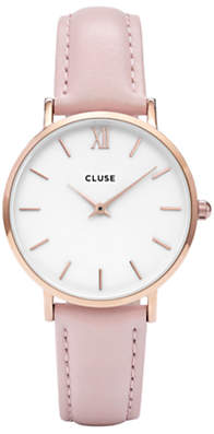 Cluse CL30001 Women's Minuit Rose Gold Leather Strap Watch, Blush/White