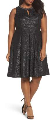 London Times Beaded Neck Fit & Flare Dress