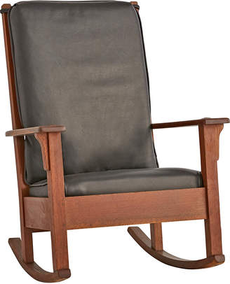 Rejuvenation Ladder Back Rocking Chair w/ New Leather Cushions