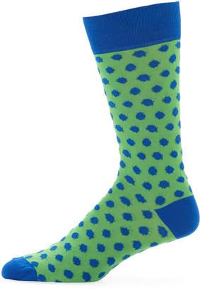 Jared Lang Men's Polka-Dot Cotton Socks