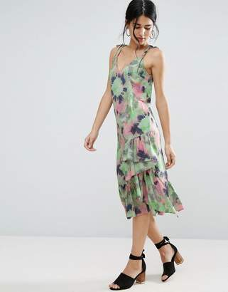 Asos Tie Dye Ruffle Hem Cami Dress