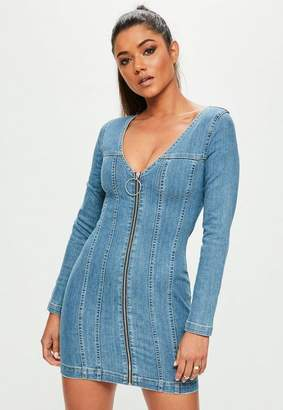 Missguided Blue Fitted Zip Through Long Sleeved Denim Dress