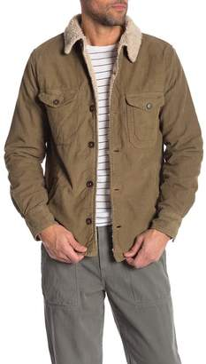 Save Khaki Faux Shearling Lined & Trimmed Corduroy Jacket