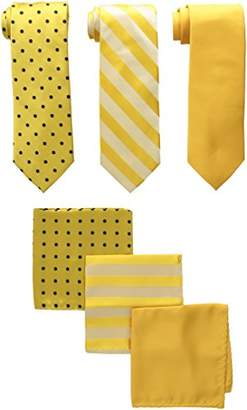 Stacy Adams Men's 3 Pack Satin Neckties Solid Striped Dots with Pocket Squares