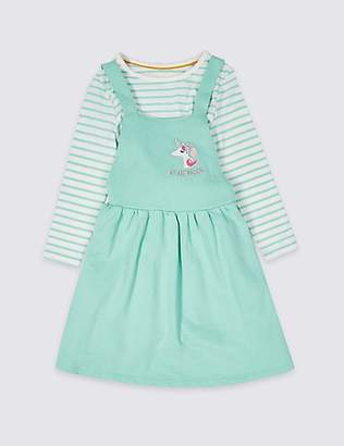 Marks and Spencer 2 Piece Top & Pinny Outfit (3 Months - 7 Years)