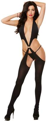 Dreamgirl Women's Open Side Plunging Halter Criss Cross Body Stocking