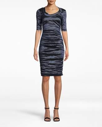 Nicole Miller Techno Metal Scoop Neck Tuck Dress