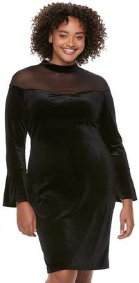 Wrapper Juniors' Plus Size Mesh Illusion Velvet Dress