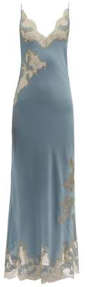 Carine Gilson Lace Trimmed Silk Slip Dress - Womens - Blue