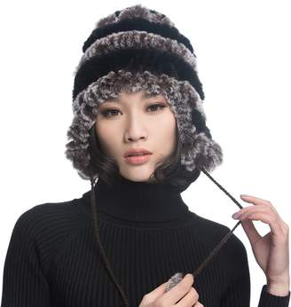 2afdb34852a at Amazon Canada · URSFUR Women s Rex Rabbit Fur Hats Winter Ear Cap  Flexible Multicolor