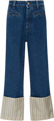 Loewe Striped Poplin-Paneled High-Rise Straight-Leg Jeans