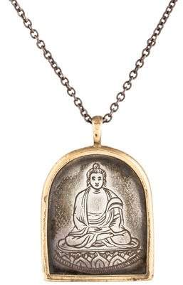 Me & Ro Me&Ro Two-Tone Buddha Pendant Necklace