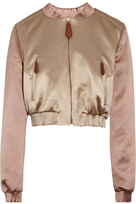 Burberry Cropped satin bomber jacket