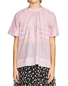 Lee Mathews Eva Silk Cotton Short Sleeve Top