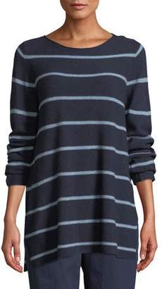 Eileen Fisher Striped Wool-Blend Pullover Sweater, Plus Size