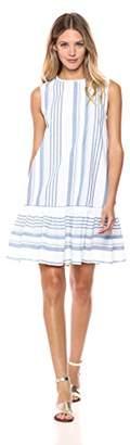 London Times Women's Round Neck Sleeveless Aline Flounce Hem Dress