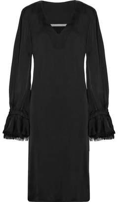 Raquel Allegra Frayed Satin-jersey Midi Dress - Black