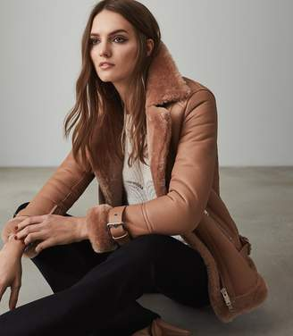 Reiss PAYTON SHEARLING AVIATOR JACKET Pink
