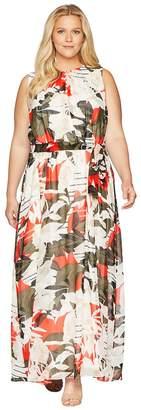 Calvin Klein Plus Plus Size Sleeveless Maxi w/ Tie Waist Dress Women's Dress