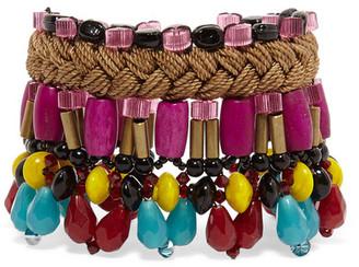 Etro - Gold-tone, Bead And Wood Bracelet - Purple $265 thestylecure.com
