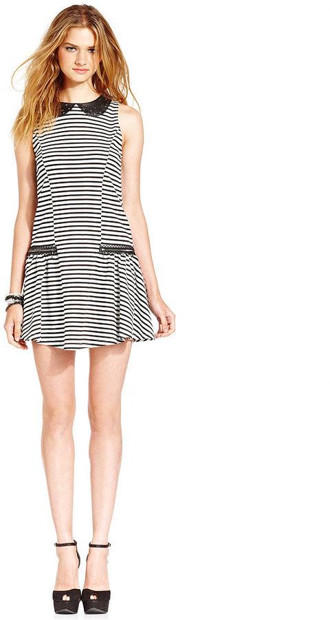 Jessica Simpson Dress, Sleeveless Brittian Striped Drop-Waist