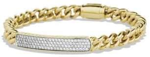 David Yurman Petite Pave Id Bracelet With Diamonds In 18K Gold