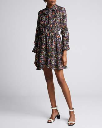 Derek Lam 10 Crosby Long-Sleeve Floral Tie-Neck Shirt Dress