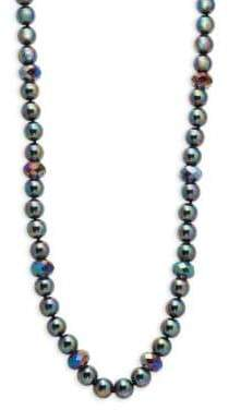 Heidi Daus Oily Grey Mixed Beaded Long Strand Necklace