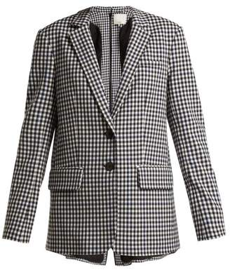 Tibi Single Breasted Back Zip Gingham Blazer - Womens - Black White