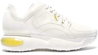 Fendi Exaggerated Sole Low Top Leather And Mesh Trainers - Mens - White