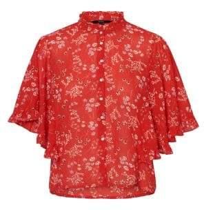 Vero Moda Lotus Floral Elbow-Length-Batwing-Sleeve Button Down Shirt